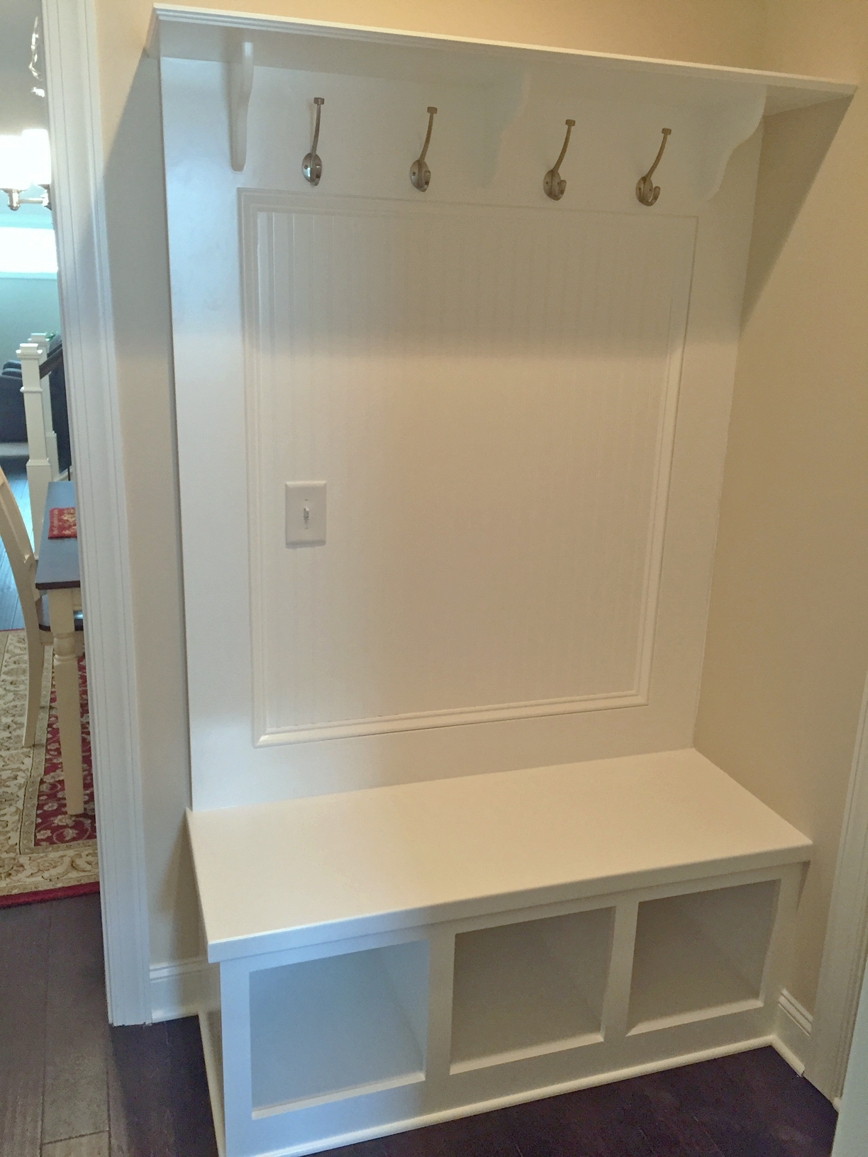 Mud Bench with Open Cubbies, Beadboard Backer, and Shelf with Corbels