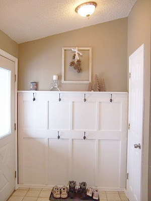 Mudroom Wall with 1-By, Cap Detail, and 2 Rows for Hooks