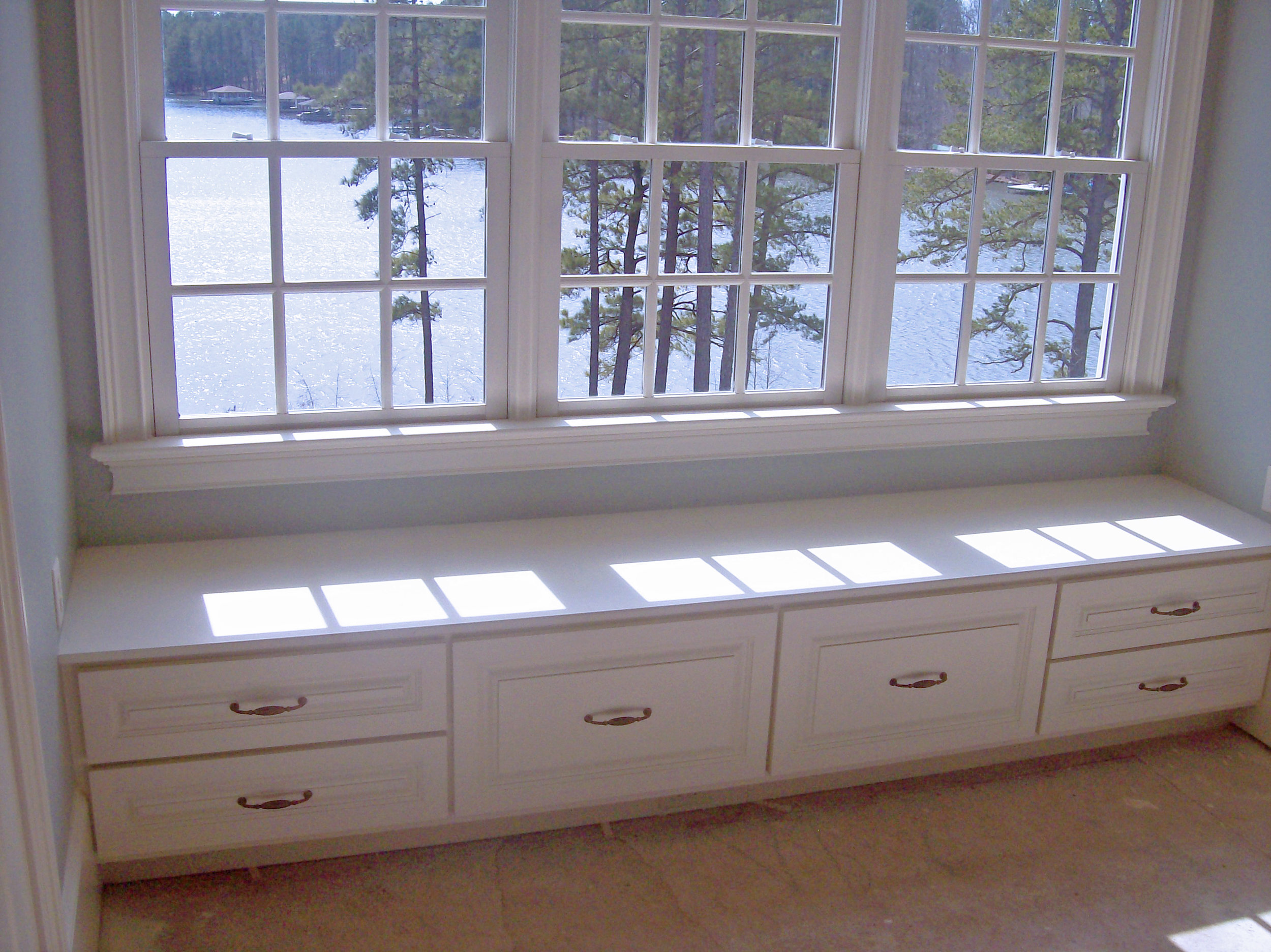 Custom Window Seat with Raised Panel Style Drawers