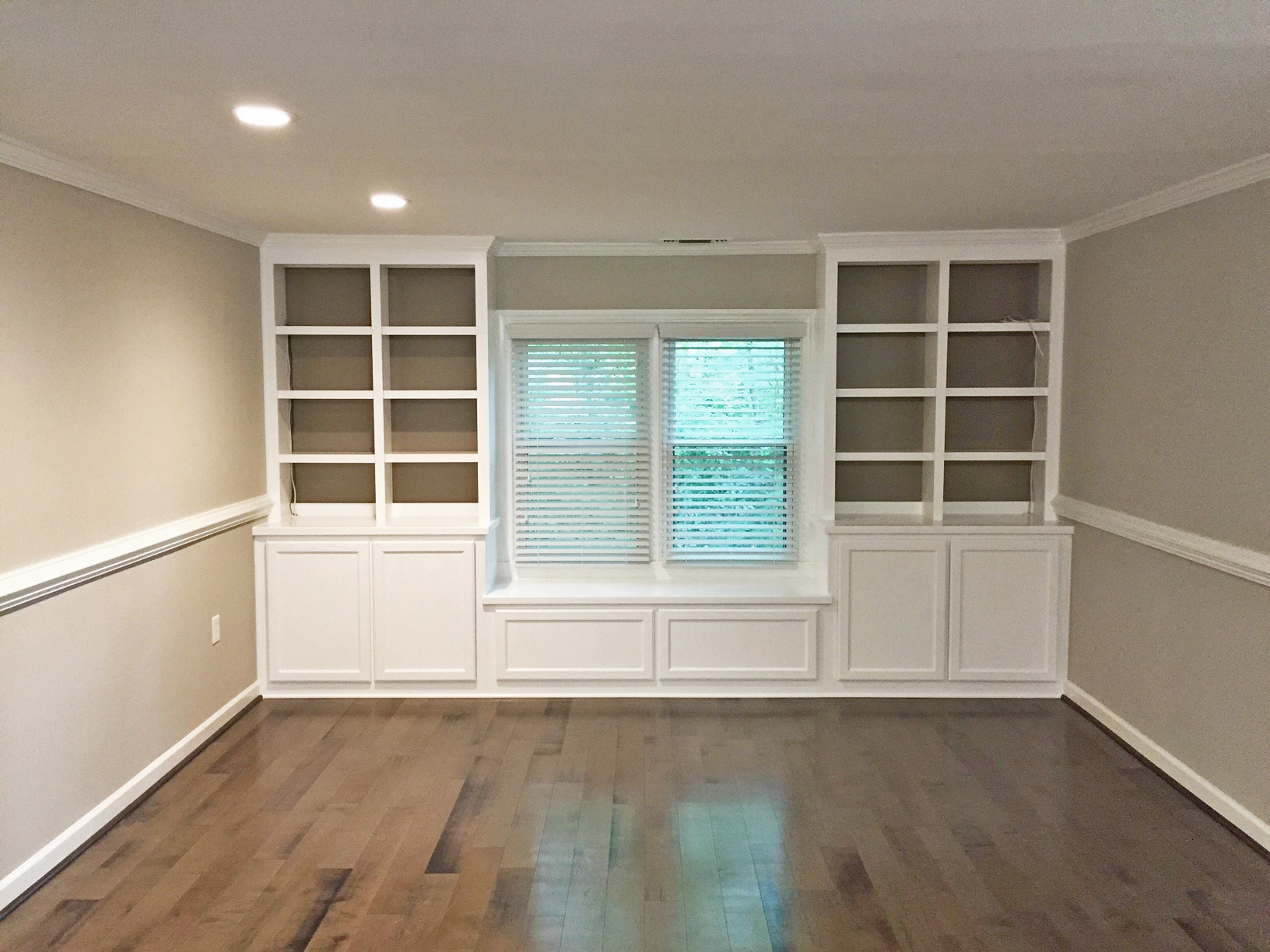 Custom Built-In Window Seat with Side Bookcases, Accent Backing & Adjustable Shelves
