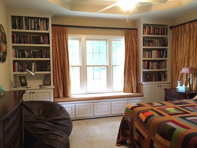 Window Seat with Raised Panel Drawers, Side Built-In with Doors & Adjustable Shelves