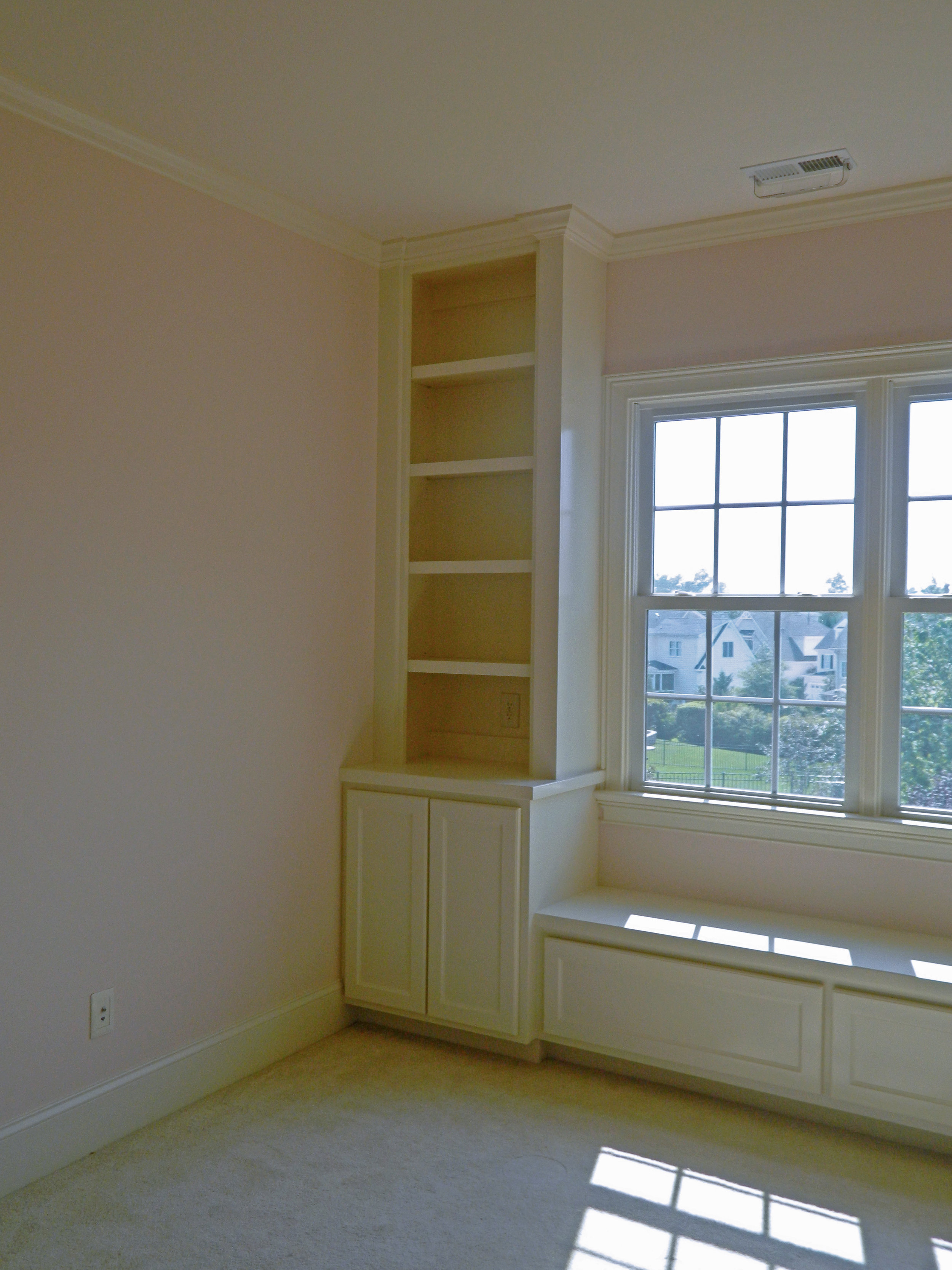 Custom Built-In Window Seat with Side Built-in & Shaker Doors and Drawers
