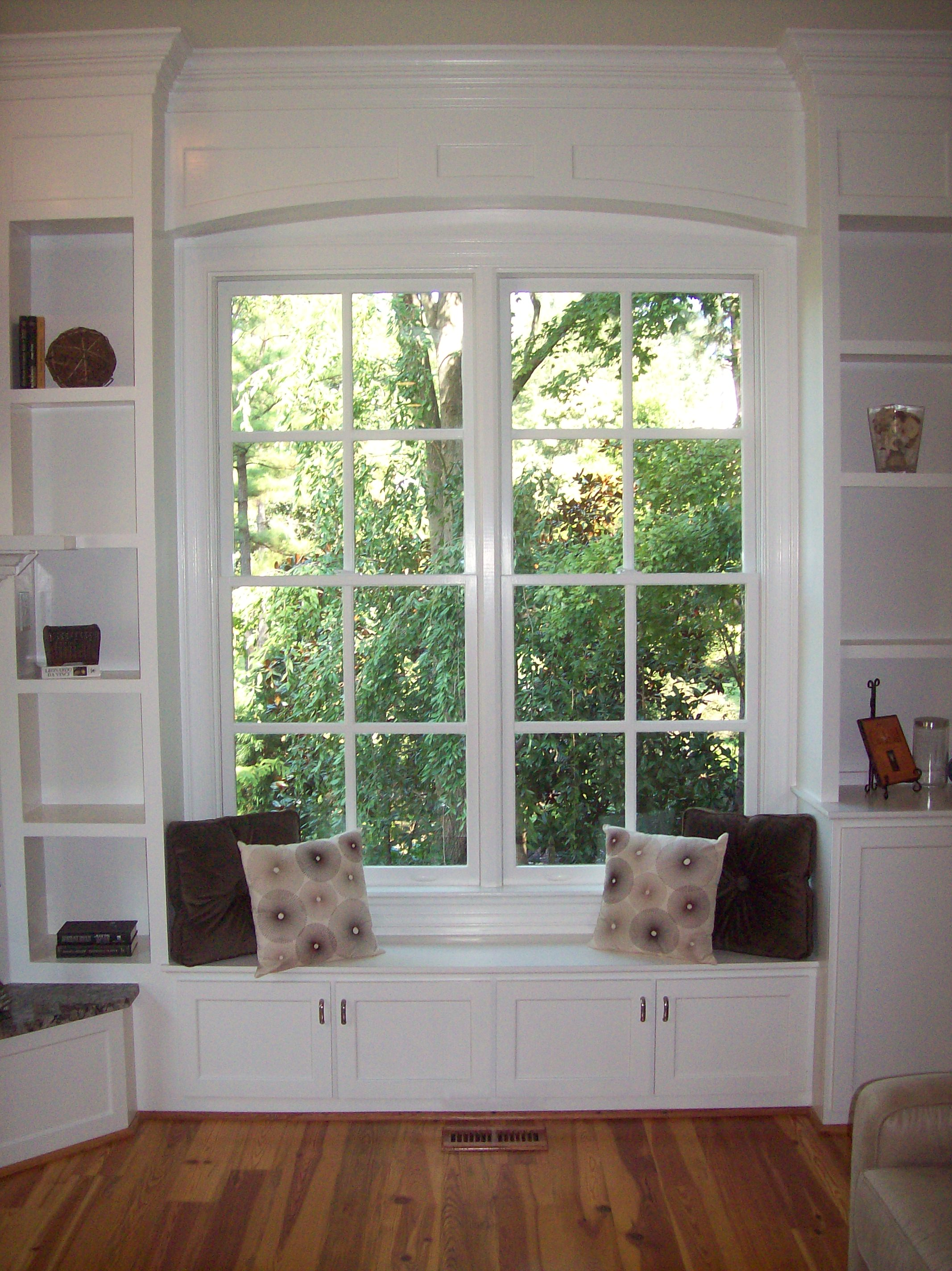 Custom Window Seat with Side Upper Adjustable Shelves