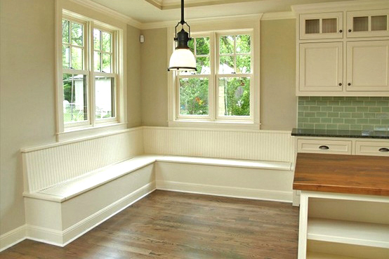 Dining L-Shaped Banquette with Beadboard Backer & Lift-Top Seats