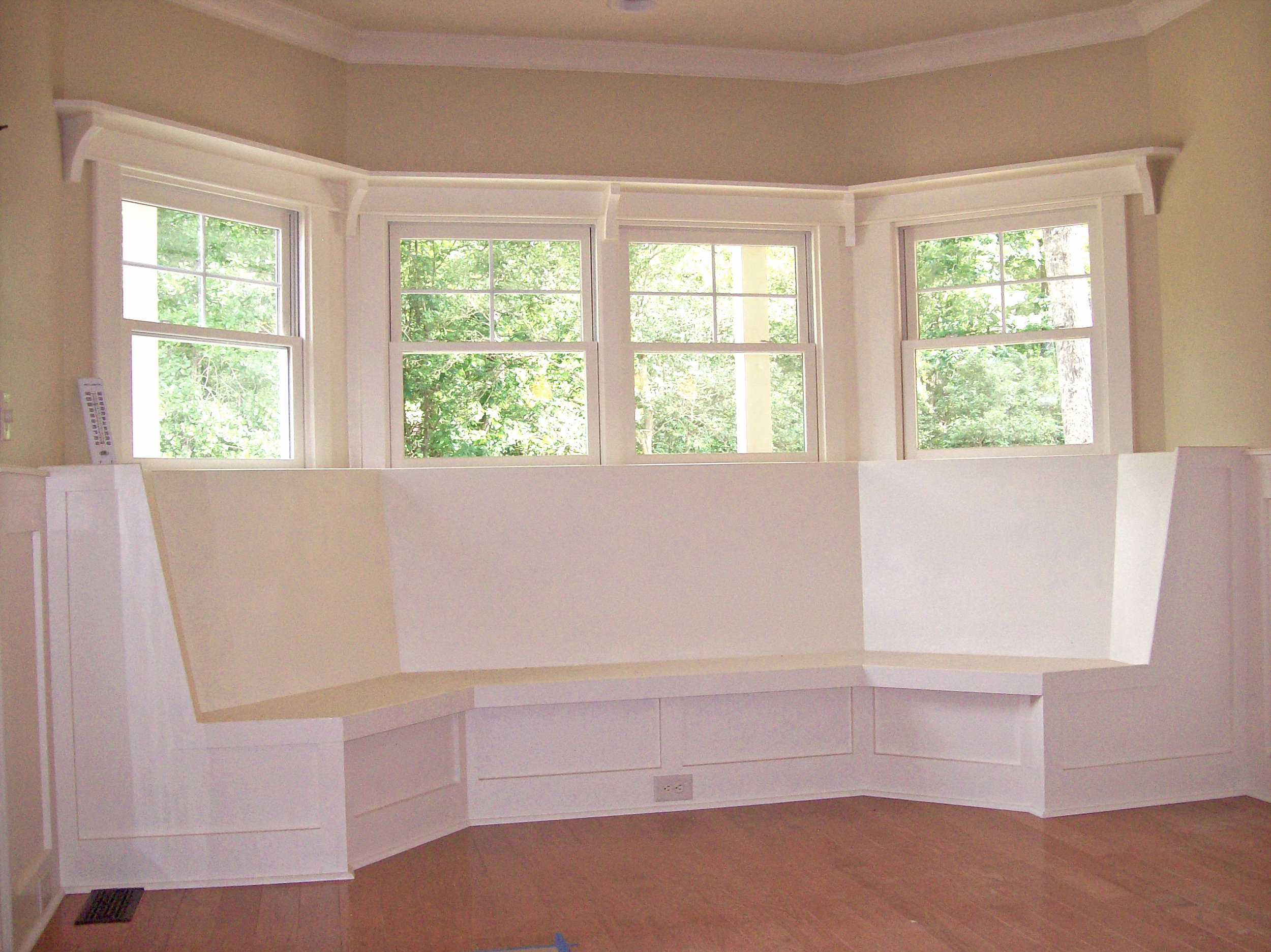Dining Bay Window Banquette with Recessed Panel Detail & High Smooth Backer