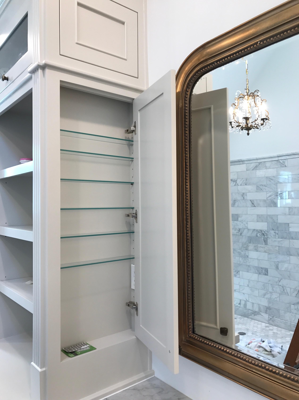 Custom Bathroom Vanity with Inset Doors, Fluting Detail, Crown Detail, Decorative Toe-Kick Detail, Side-Panel Cabinetry & Custom Framed Mirrors (3 of 3)