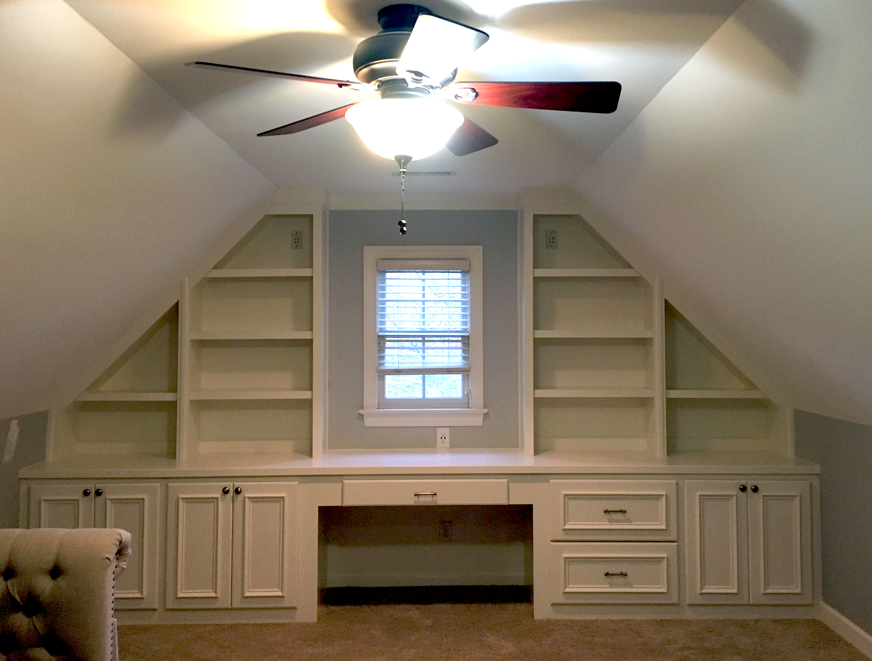 Gable Custom Built-In with Adjustable Shelves, Applied Panel Doors & Drawer Fronts