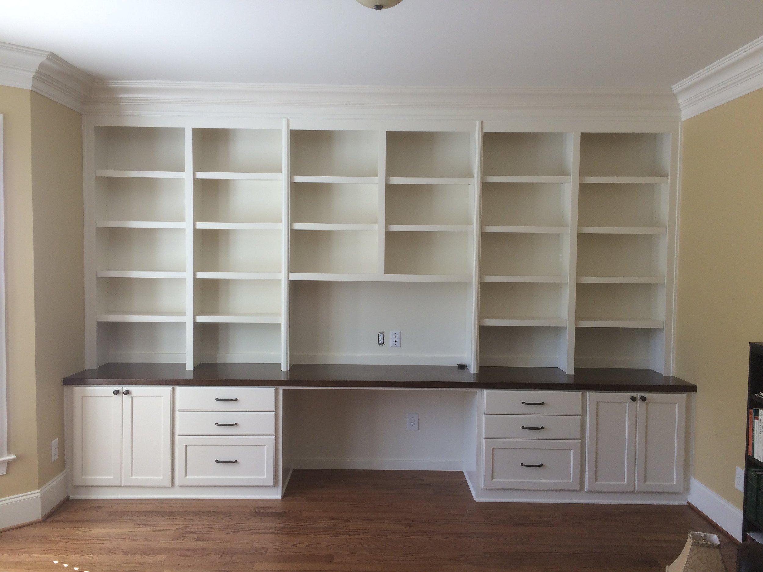 Custom Desk with Shaker Doors & Filing Drawers, Slab Drawers, Stain Maple Countertop & Adjustable Shelves