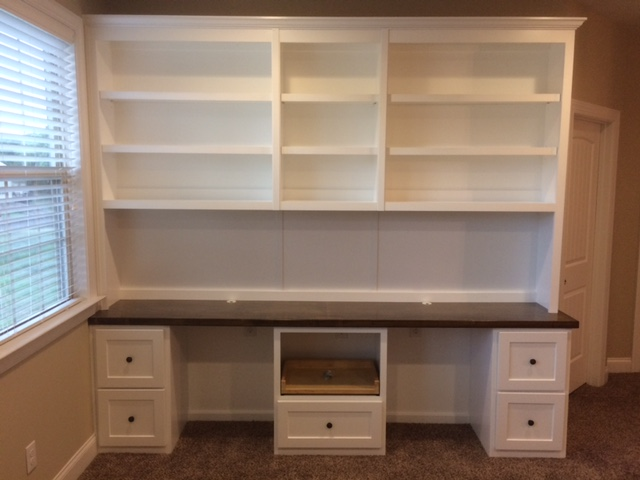 Desk with Printer Pullout, Shaker Front Filing Drawers & Maple Stain Countertop