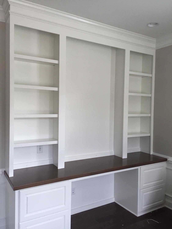 Custom Desk with Raised Panel Filing Drawers, Adjustable Shelves & Maple Stain Countertop