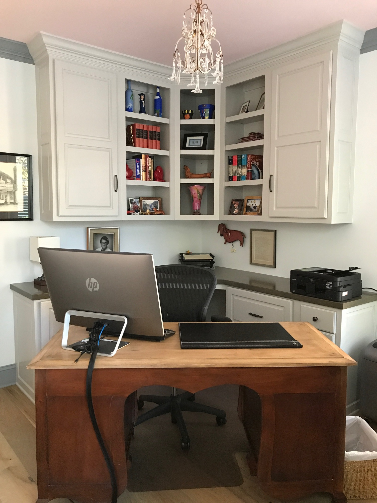 Custom Built-in Corner Desk with Raised Panel Doors, Adjustable Shelves & Stain Countertop