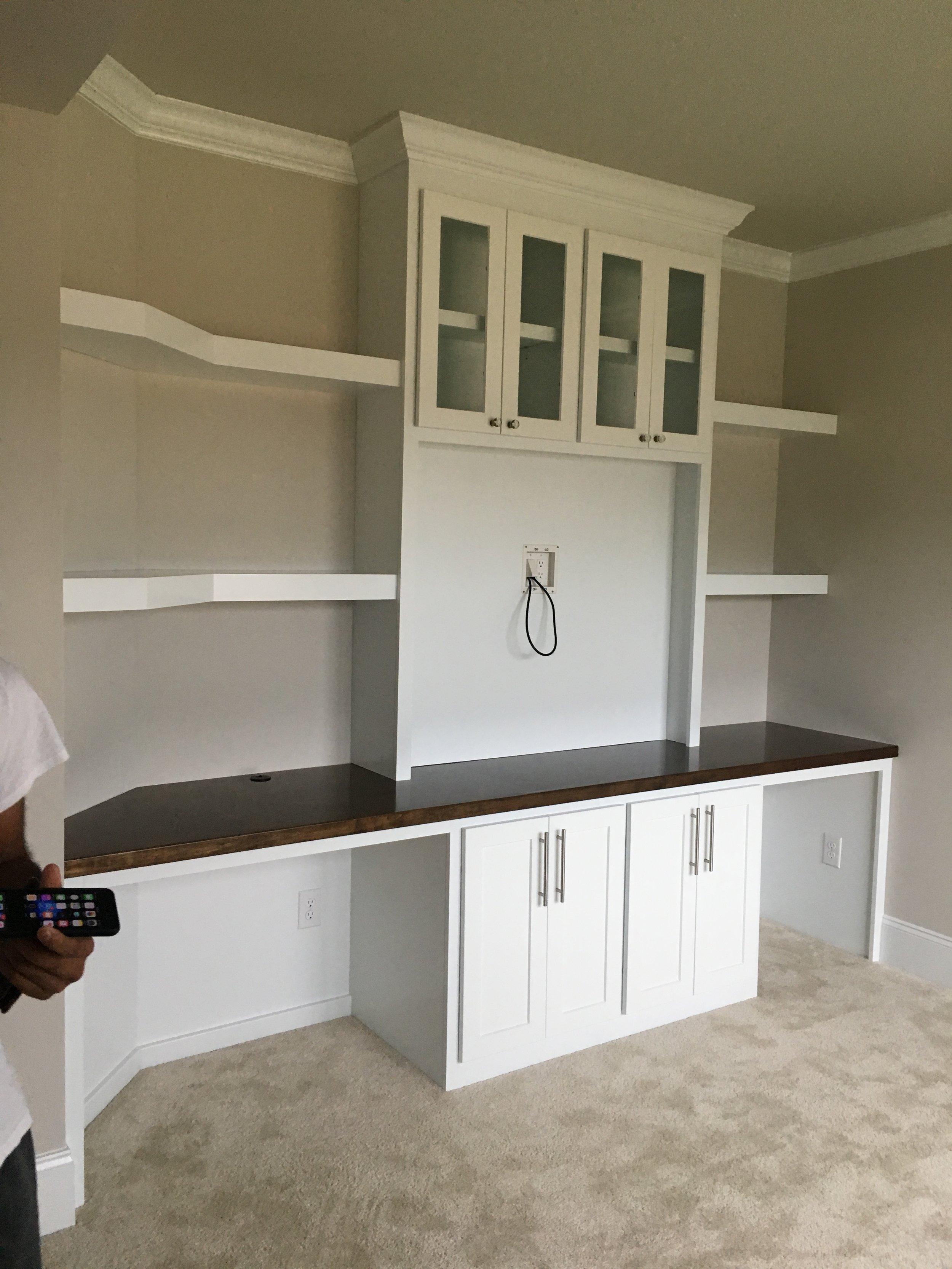 Custom 2-Desk Opening Built-In with Shaker & Glass Doors & Floating Shelves