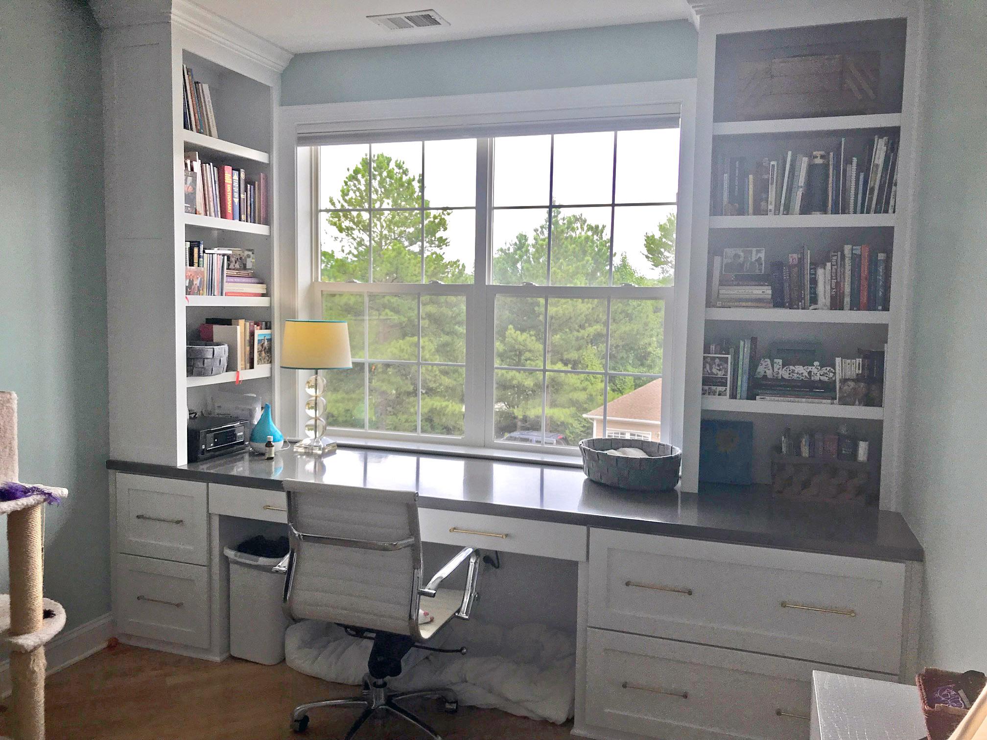 Custom Desk with Shaker Filing Drawers, Slab Pen Drawer, Adjustable Shelves, Panel Detail & Stain Countertop