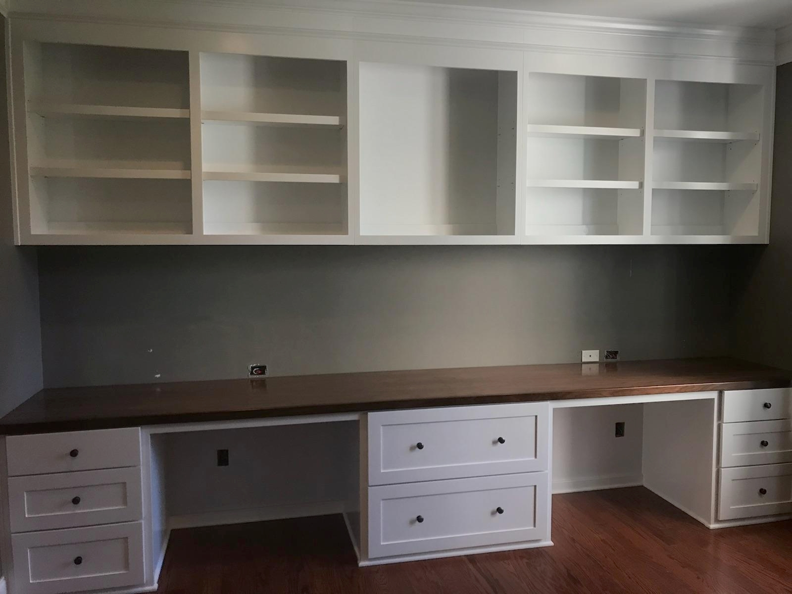 Custom Desk with Shaker Filing Drawers, Slab Drawers, Adjustable Shelves, Header Detail, And Clear Coat Walnut Countertop