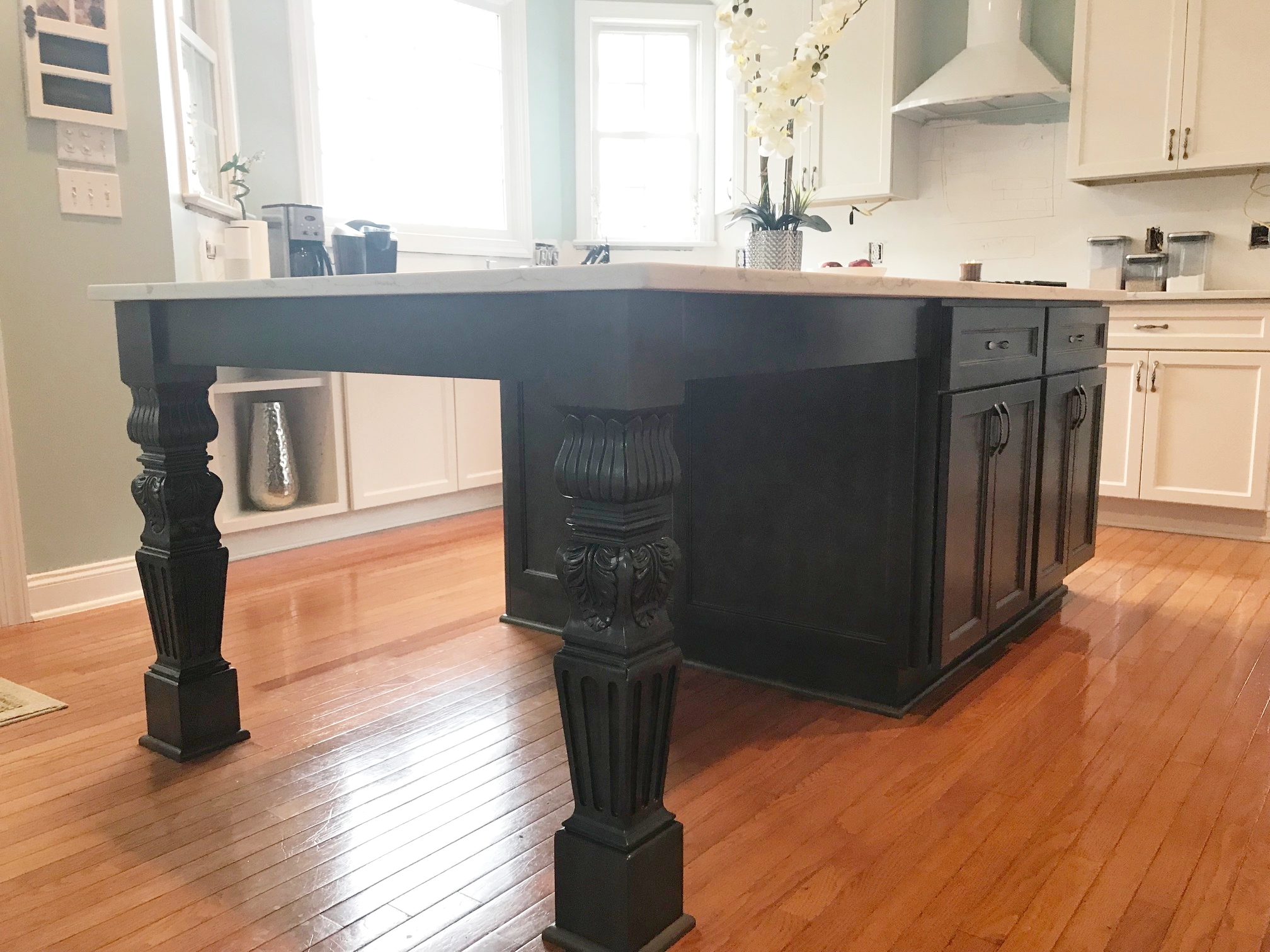 Custom Island with Shaker Doors & Drawers, Shaker Panel Detail, and Decorative Posts