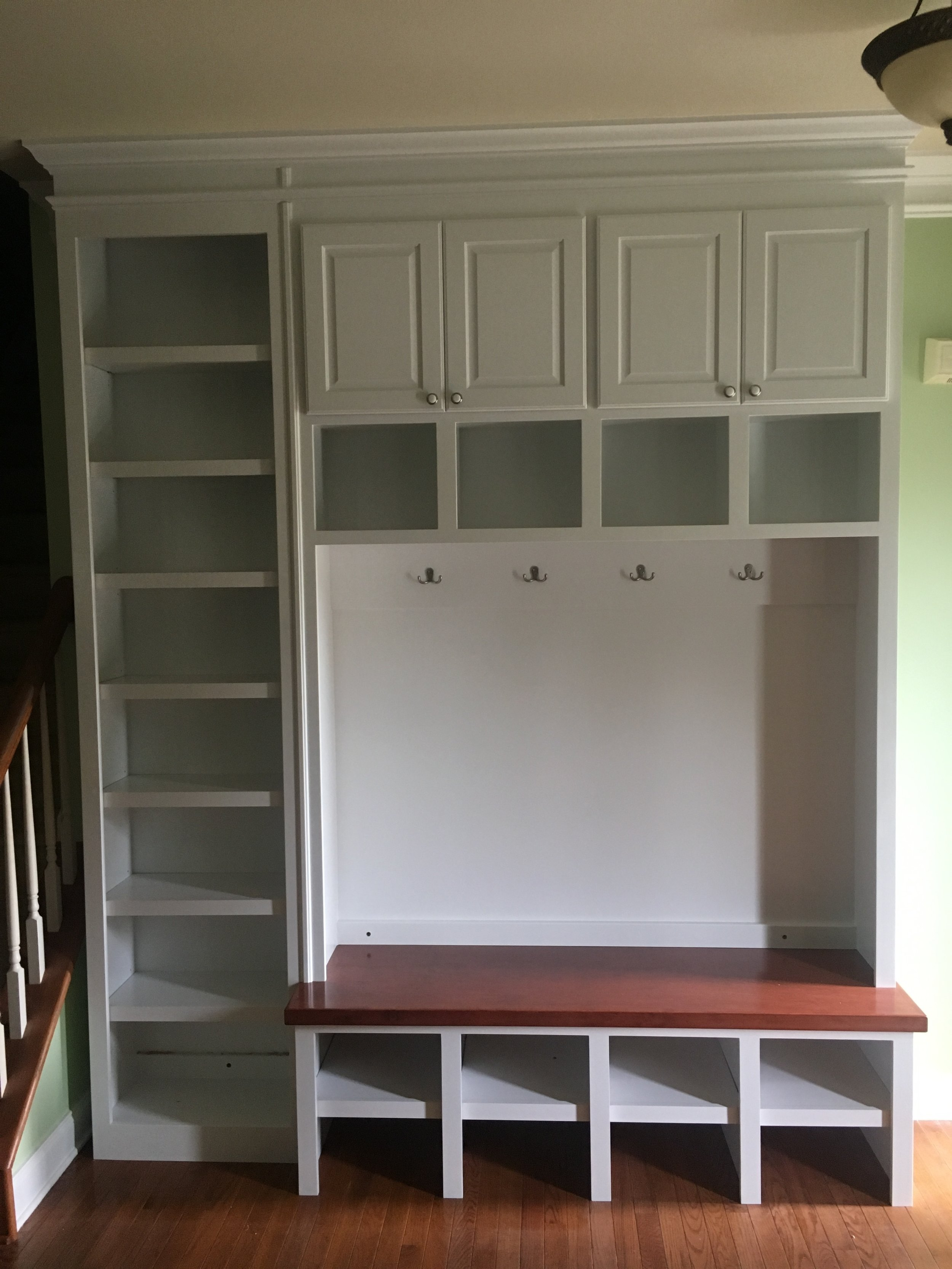Mud Bench with Raised Panel Doors, Open Cubbies, Stain Top, Adjustable Shelves and Crown