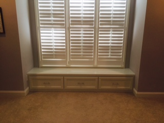 Custom Window Seat with Shaker Doors and Painted Countertop
