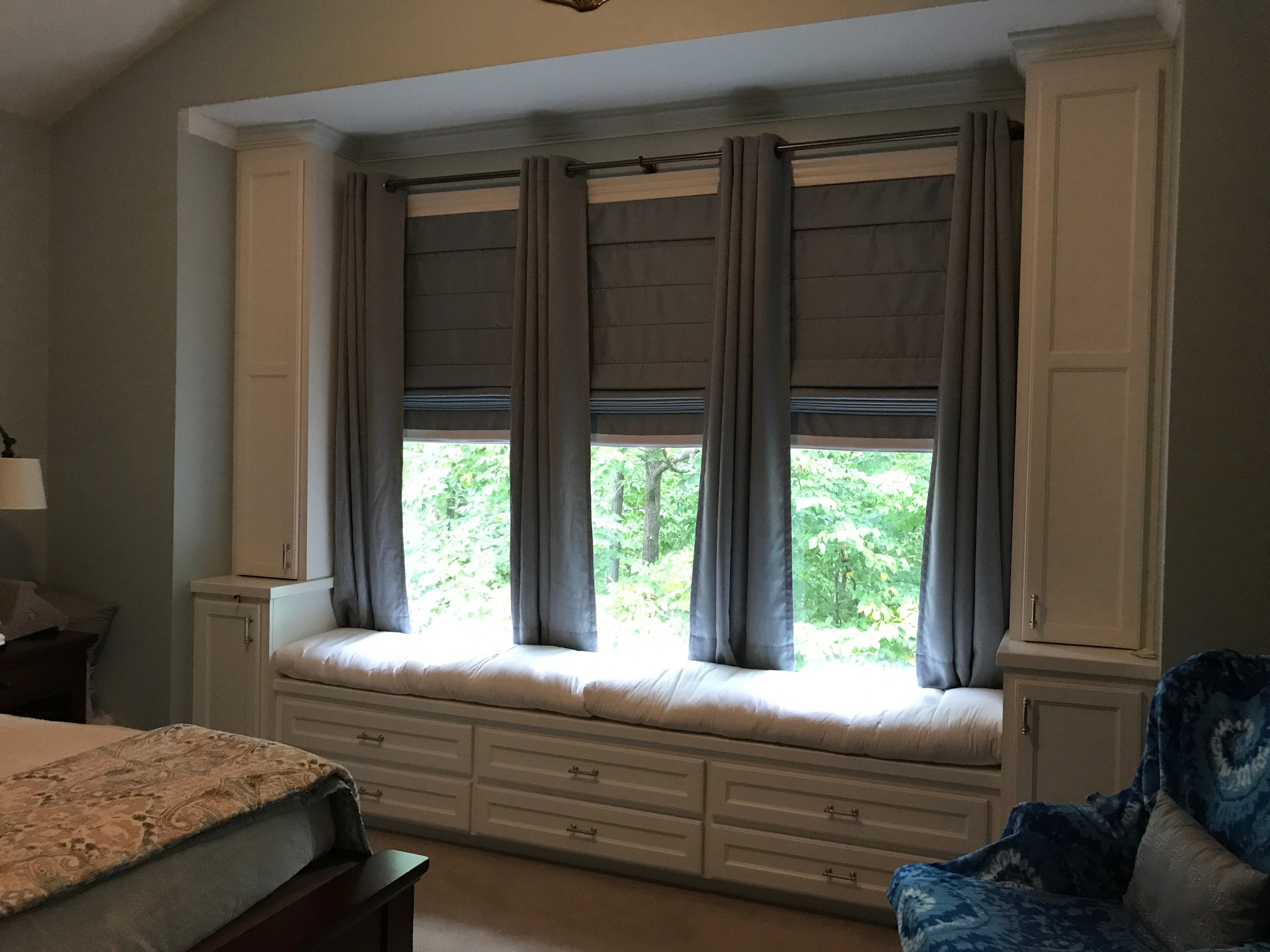 Custom Window Seat with Double Stack Drawers, Side Base Cabinets & Upper Doors