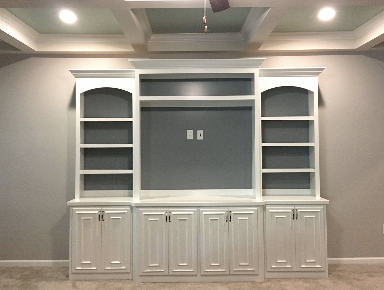 Built-In with Accent Backer, Arches, TV Opening, Crown, and Applied Panel Detail Doors