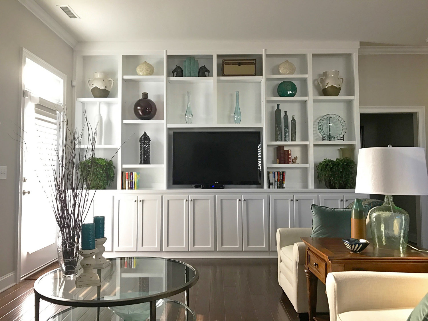 Built-In with Adjustable Shelves, TV Opening, Crown, and Shaker Doors