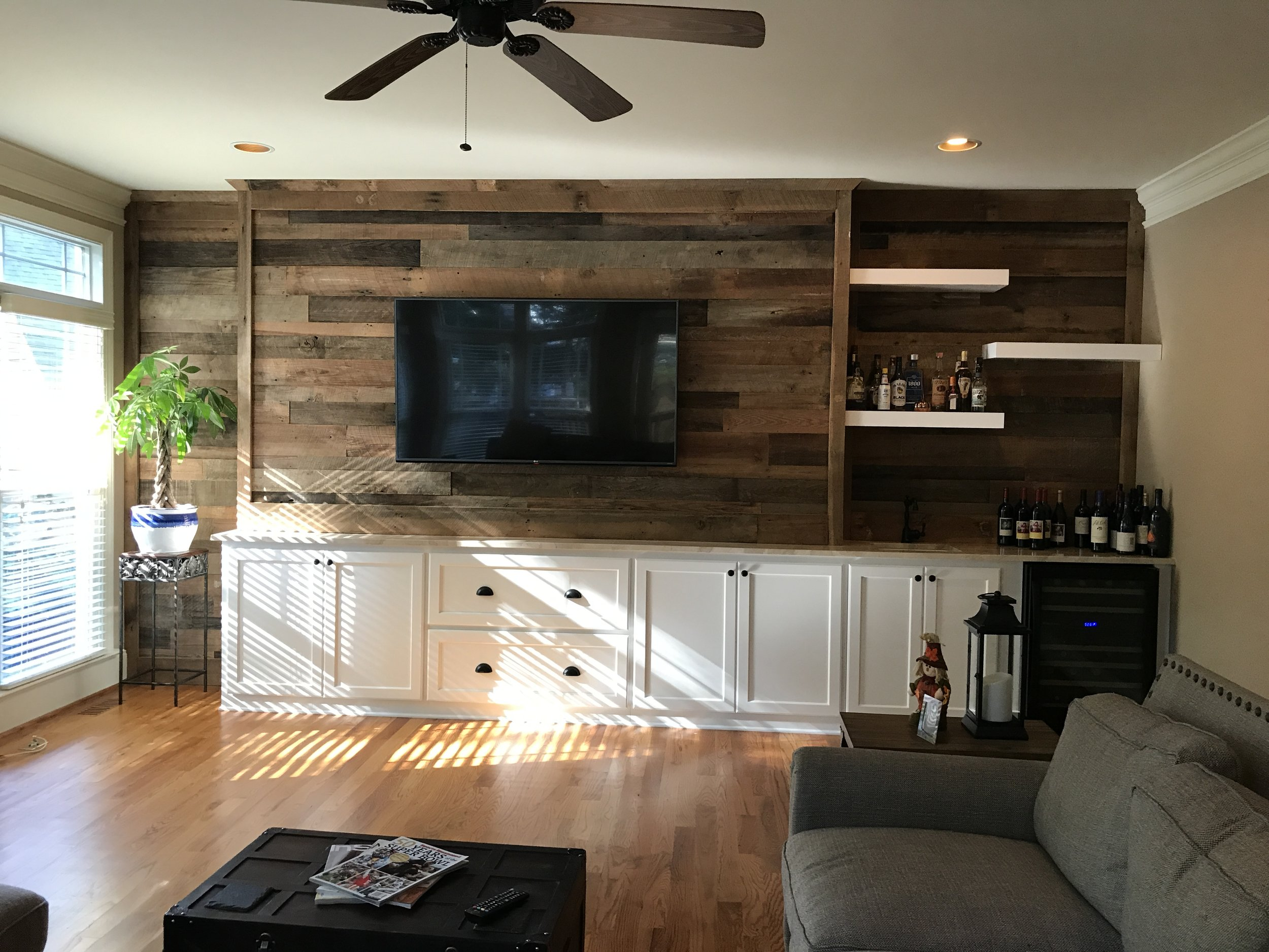Built-In with Shaker Doors and Drawers, Floating Shelves, Crown, and Reclaimed Backer