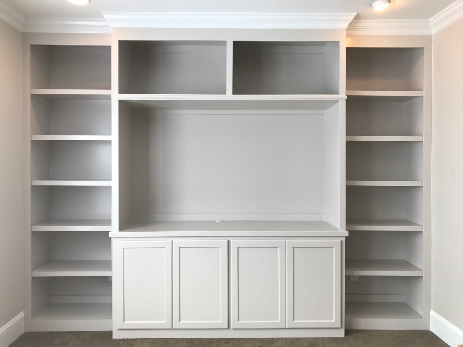 Built-In with Fixed Shelves, TV Opening, Crown, and Shaker Doors