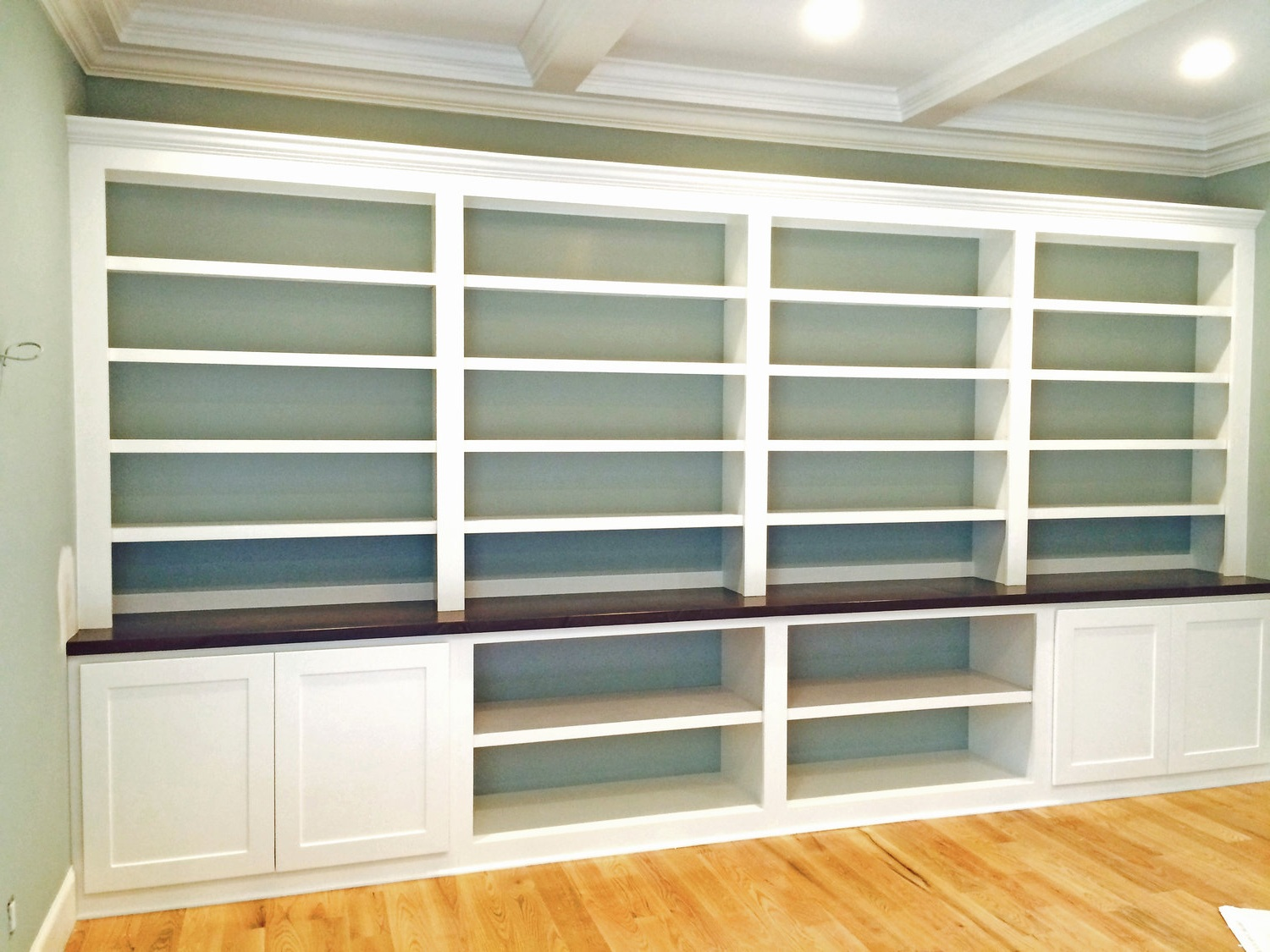 Built-In with Accent Backer Color, Adjustable Shelves, Shaker Doors, and Open Cubbies