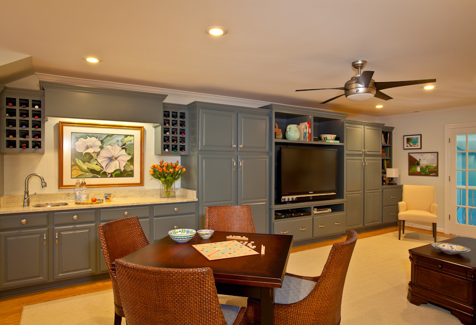 Built-In with Raised Panel Doors, Slab Drawers, TV & Console Openings, Wine Racks, and Crown