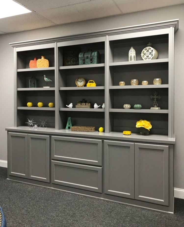 Built-In with Adjustable Shelves, Crown, Shaker Drawers, and Shaker Doors