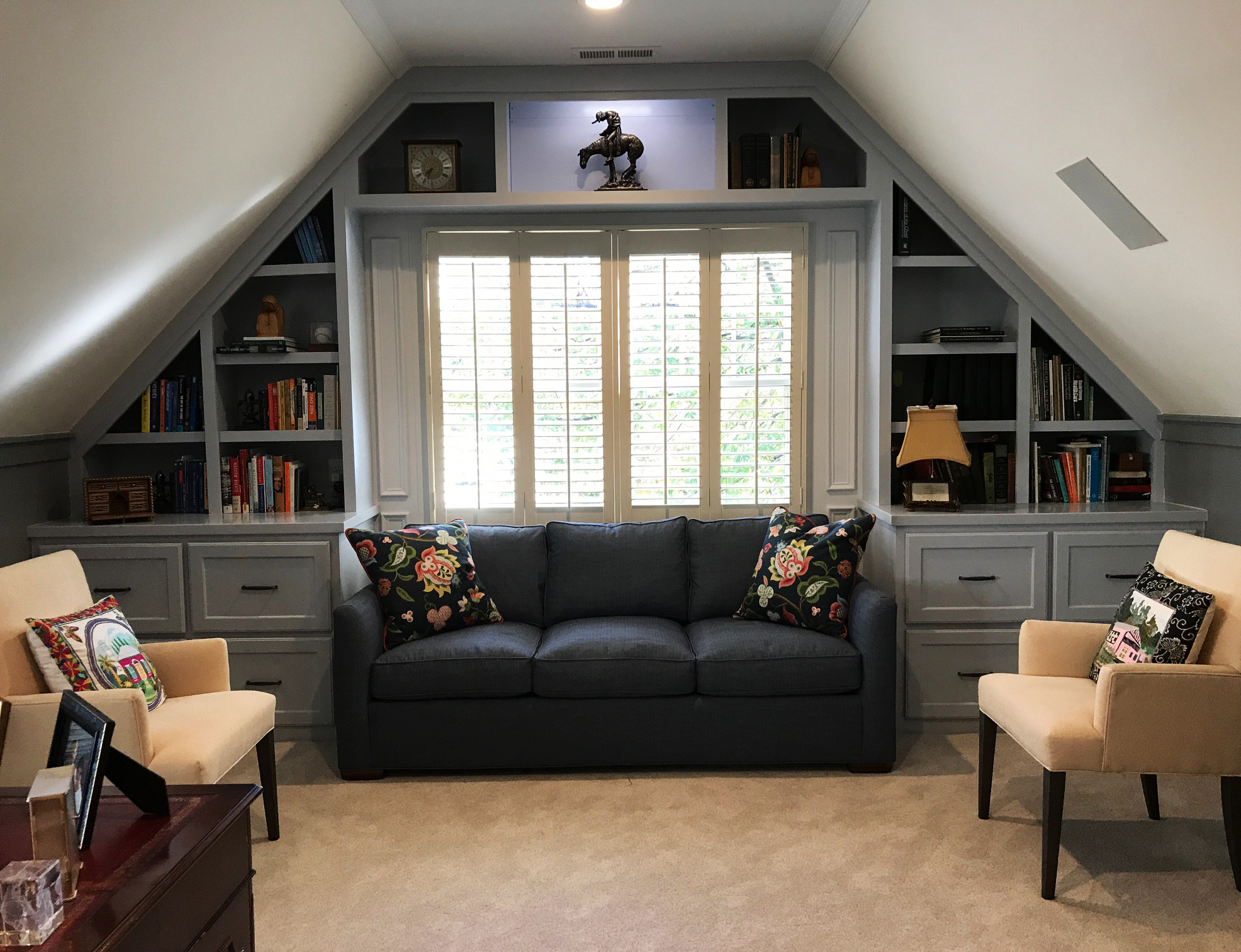 Gable Built-In with Fixed & Adjustable Shelves, Shaker Drawers, and 1-By Crown Detail
