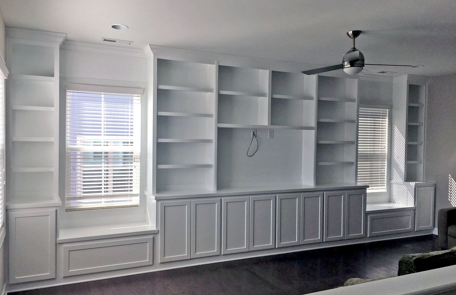 Built-In with Shaker Doors & Drawers, Adjustable Shelves, TV Opening, and Crown