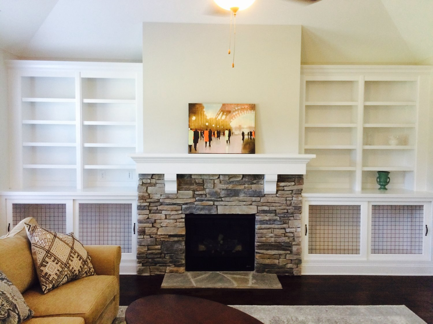 Fireplace Built-Ins with Adjustable Shelves, Crown, and Bypass Door Dog Crates