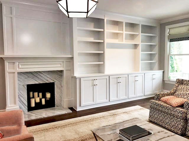 Fireplace Built-In with Adjustable Shelves, TV Opening, Shaker Doors, and Crown