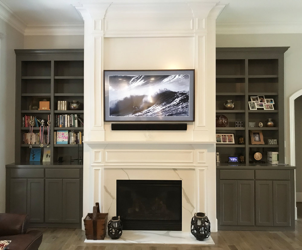 Fireplace Built-Ins with Adjustable Shelves, Shaker Doors, Slab Drawers, and Crown