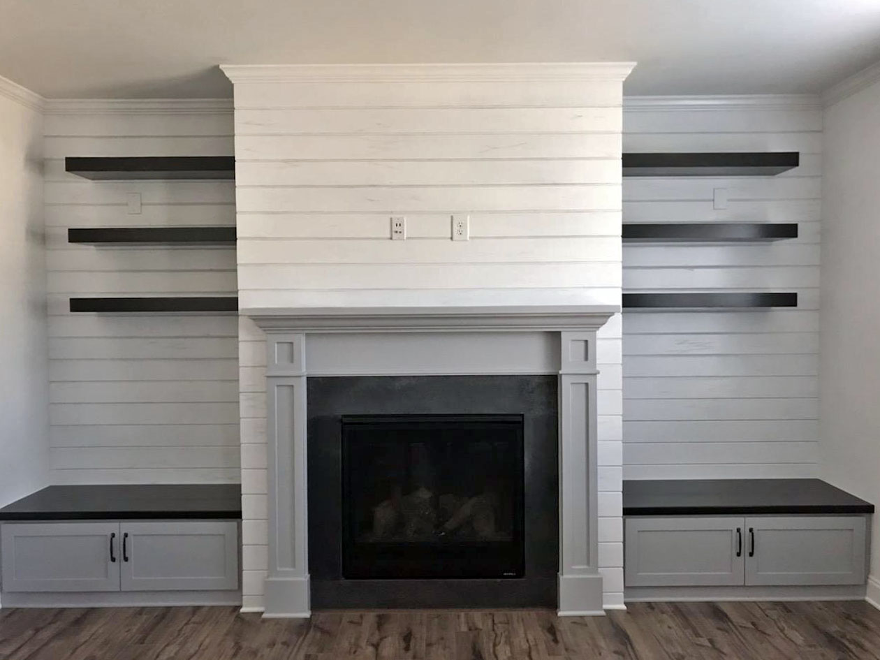 Fireplace Built-Ins with Distressed Shiplap, Floating Shelves, and Shaker Doors