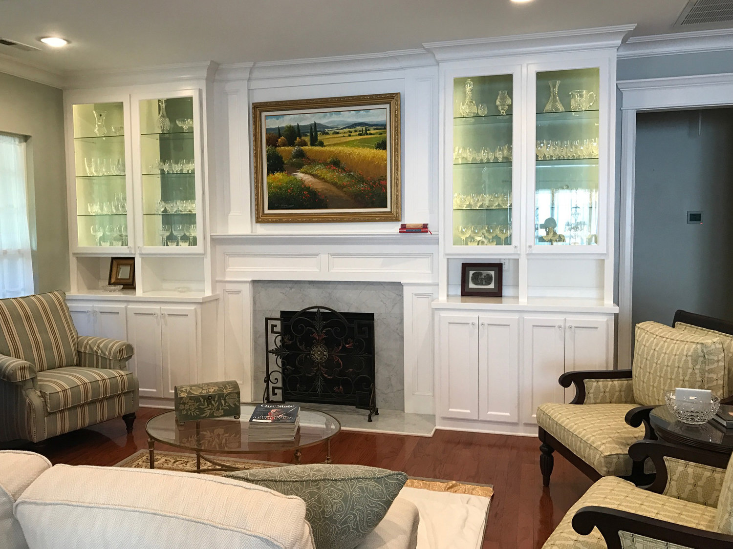 Fireplace Built-Ins with Shaker Doors, Glass Doors & Shelves, and Crown