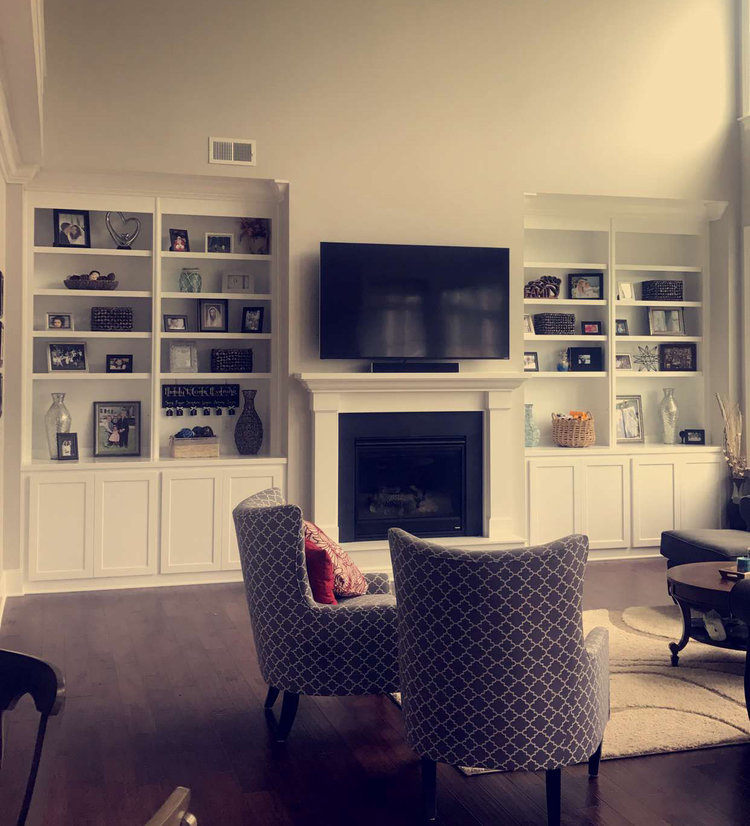 Fireplace Built-In with Adjustable Shelves, Shaker Doors, and Crown