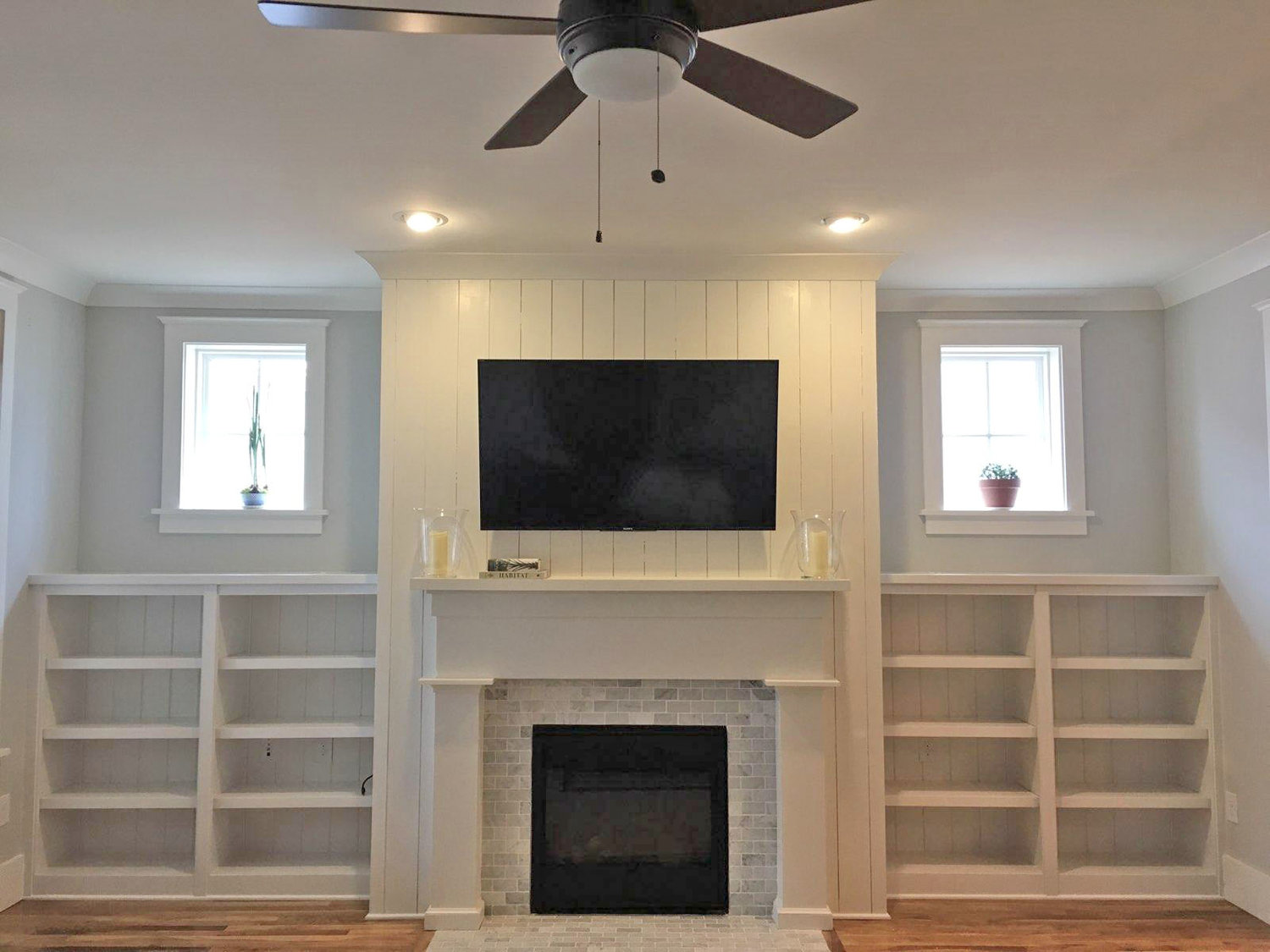 Fireplace Bookcases with Adjustable Shelves, Shiplap Backer and Countertops