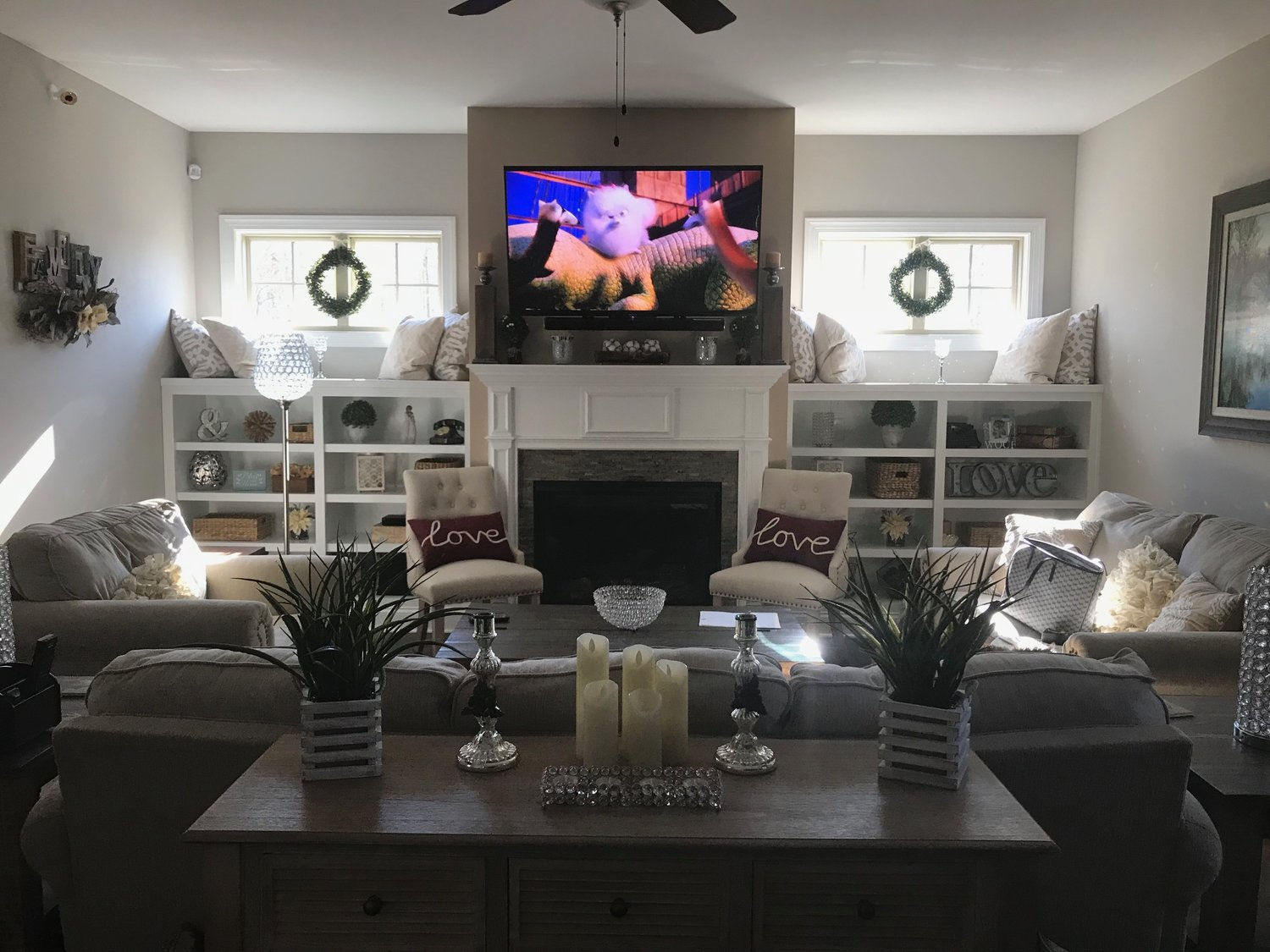 Fireplace Bookcases with Adjustable Shelves and Countertops