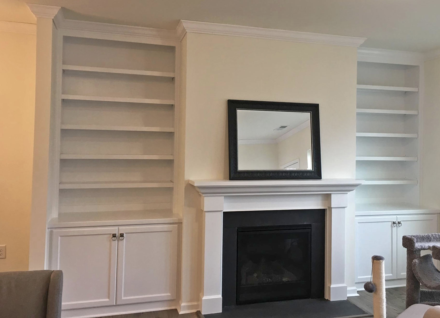 Fireplace Built-Ins with Adjustable Shelves, Shaker Doors, and Crown