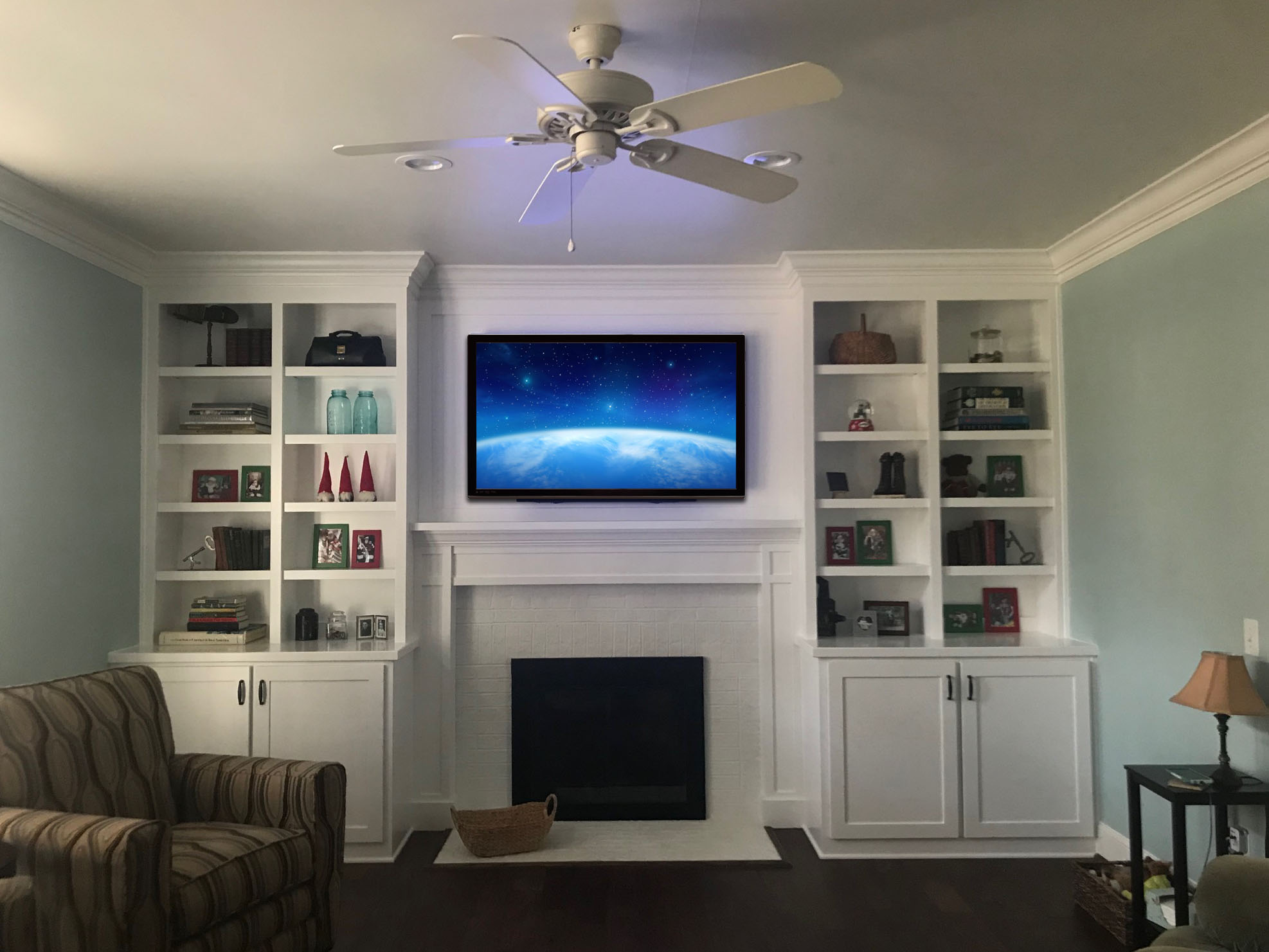 """Fireplace Built-Ins with Shaker Doors, Adjustable Shelves, Upper Mantel 1/4"""" Panel, and Crown"""