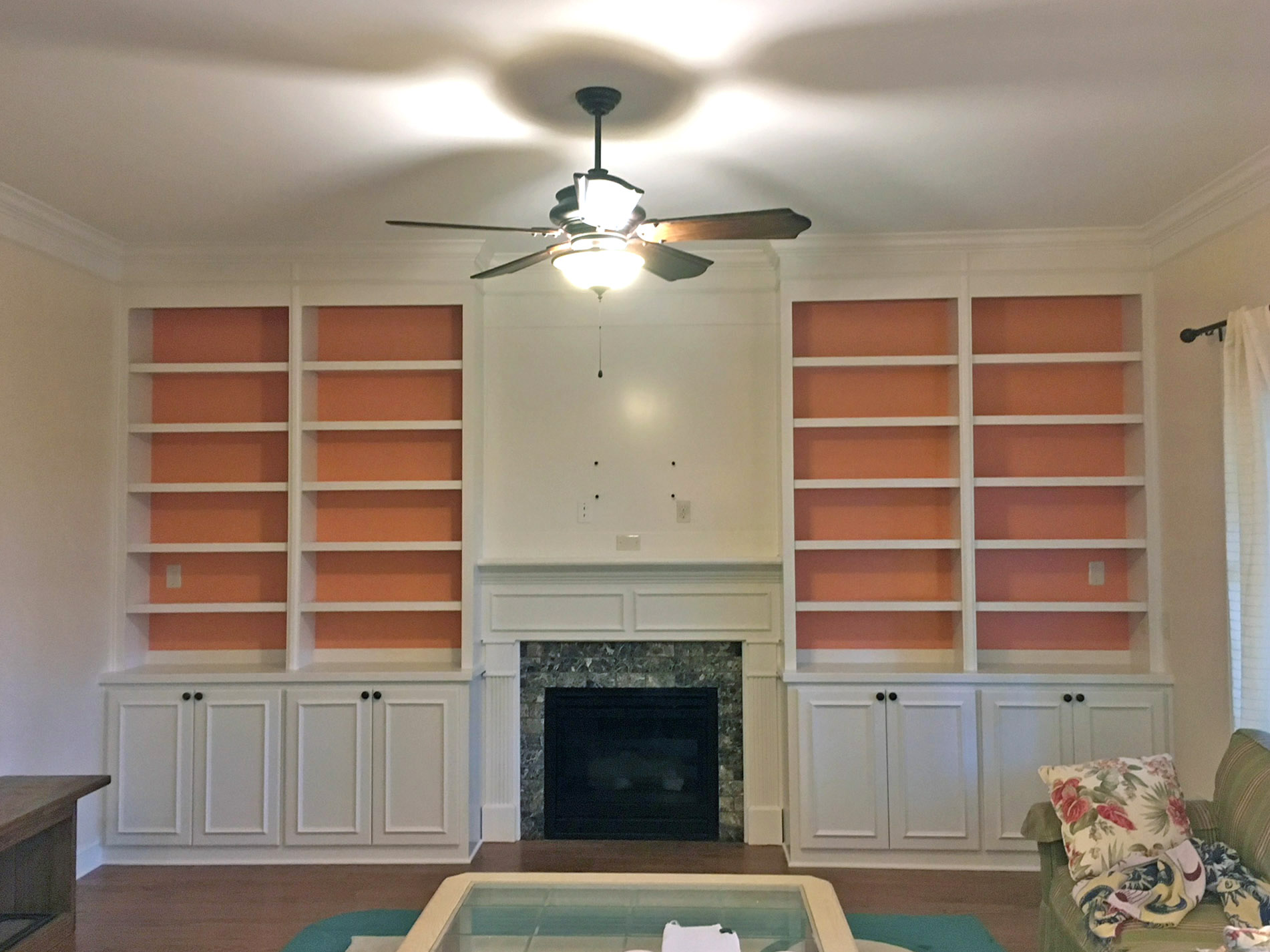 """Fireplace Built-Ins with Applied Panel Detail Doors, Accent Backer Color, Upper Mantel 1/4"""" Panel, and Crown"""