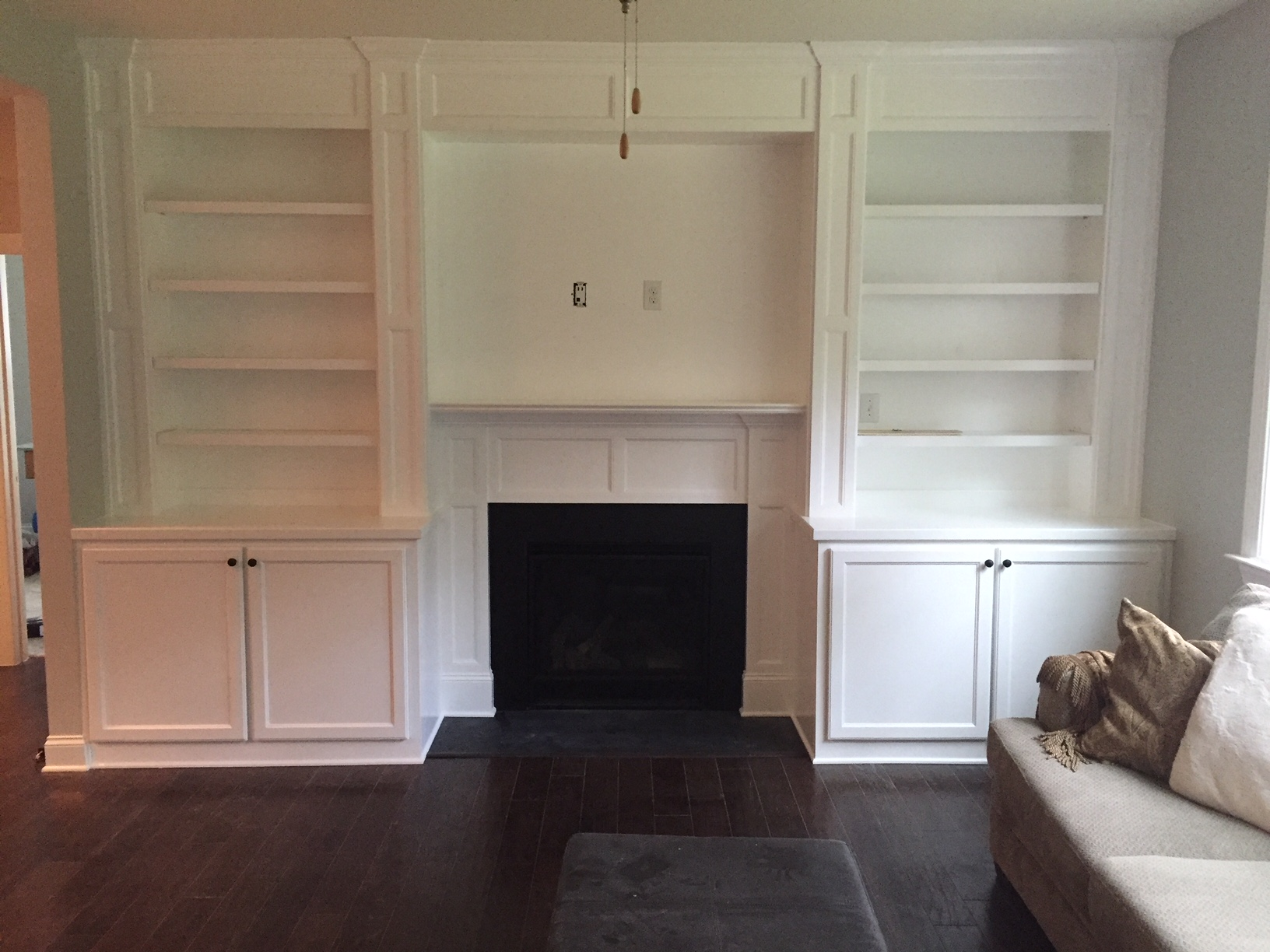 Fireplace Built-Ins with Adjustable Shelves, Header & Applied Panel Detail, Columns, Shaker Panels, Shaker Doors, and Crown