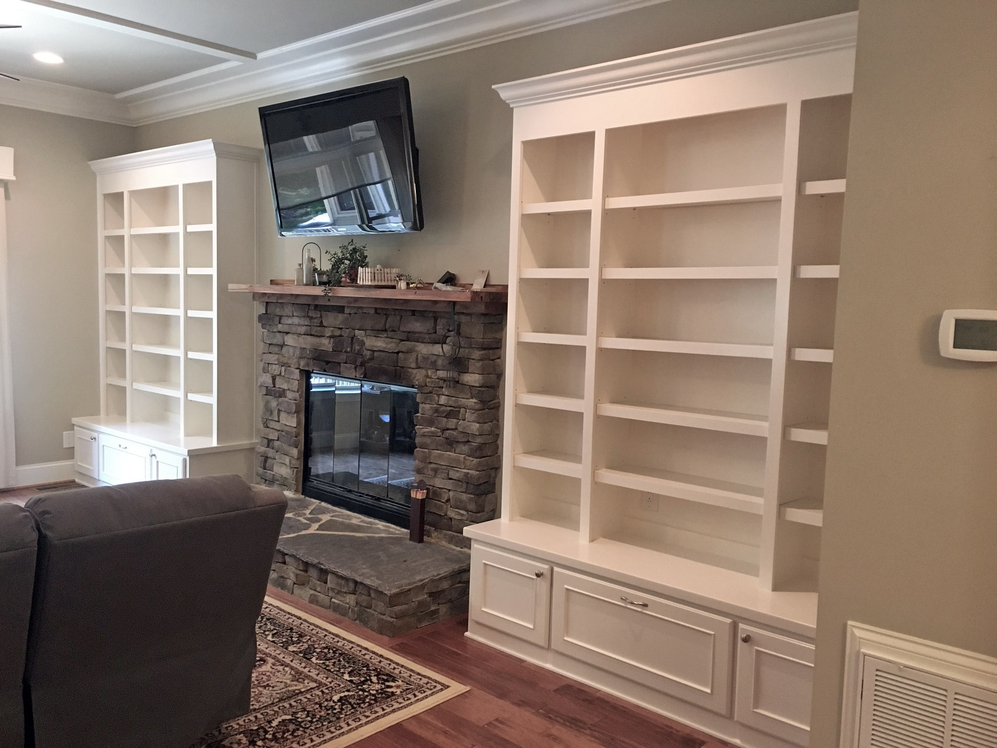 Fireplace Built-In with Adjustable Shelves, Drawers with Applied Panel Detail, and Crown