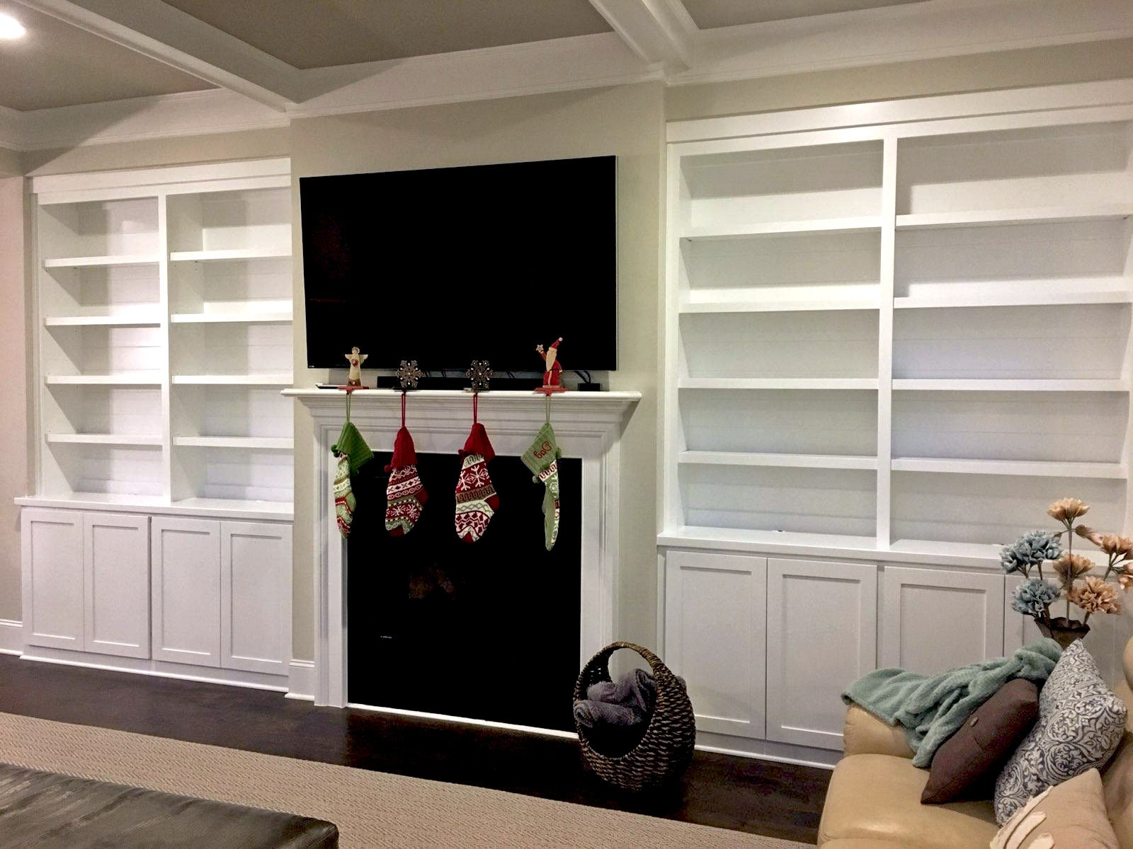 Fireplace Built-In with Adjustable Shelves, Shaker Doors, and 1-By Crown