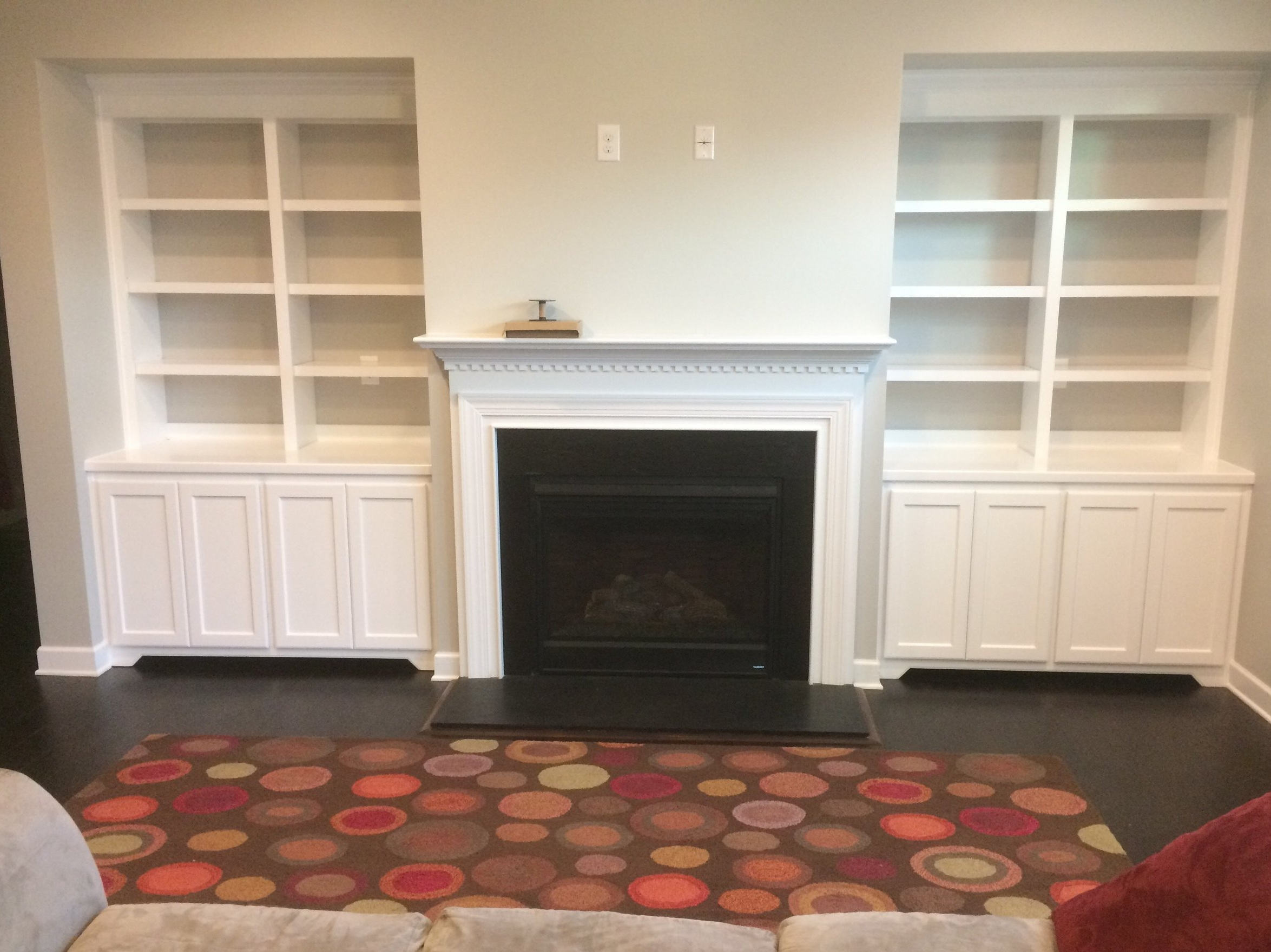 Fireplace Built-Ins with Shaker Doors, Toe-Kick Detail, Header Detail, Adjustable Shelves, and Crown