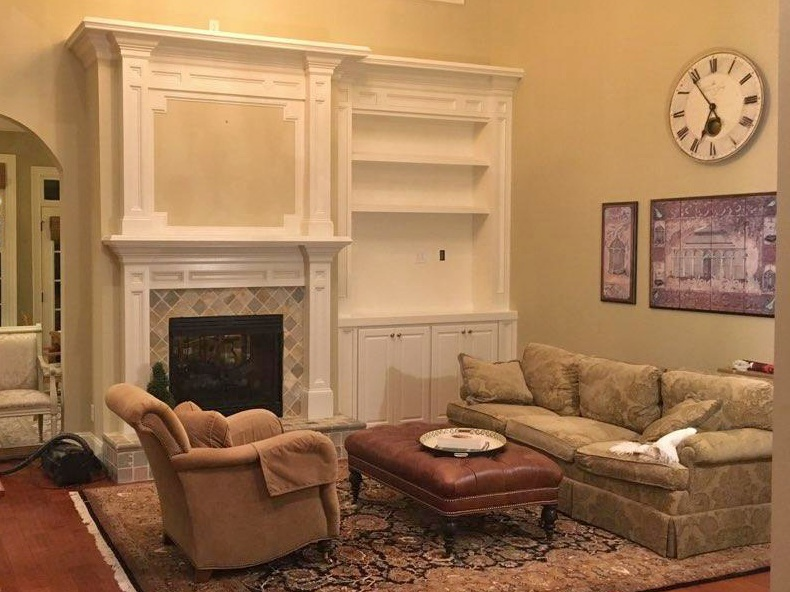Fireplace Built-In with Header & Shaker Panel Detail, Raised Panel Doors, Fixed Shelves, and Crown (Matches Existing Mantel)