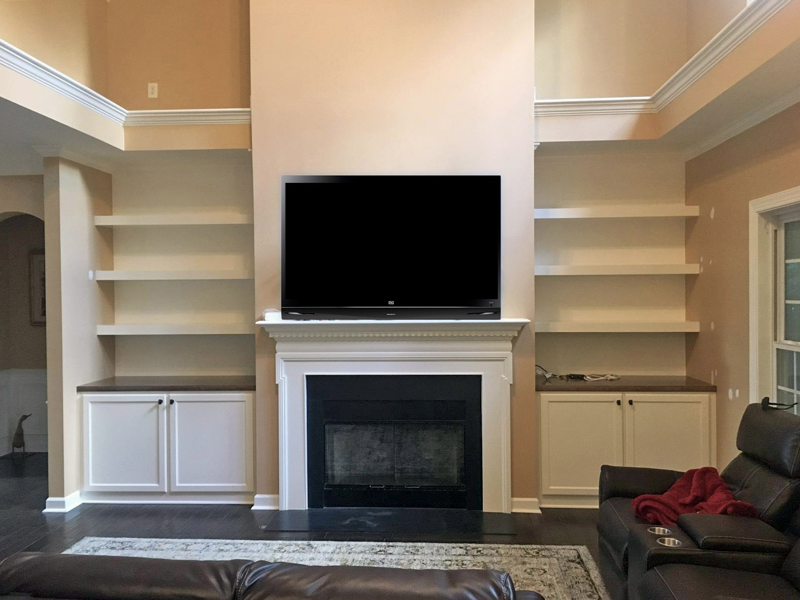 Fireplace Built-Ins with Shaker Doors, Stain Countertops, and Floating Shelves