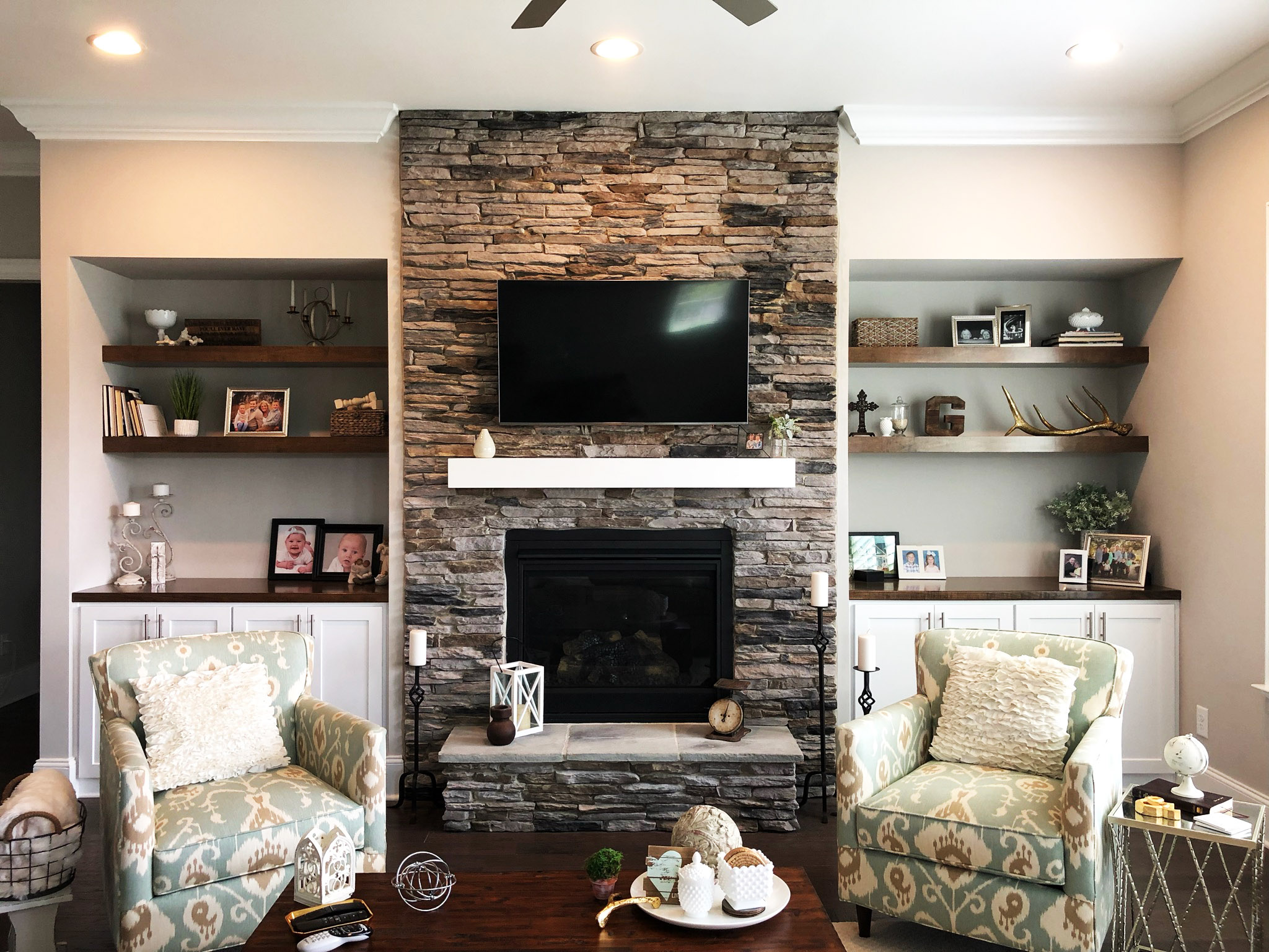 Fireplace Built-Ins with Shaker Doors, Stain Floating Shelves, and Stain Countertops