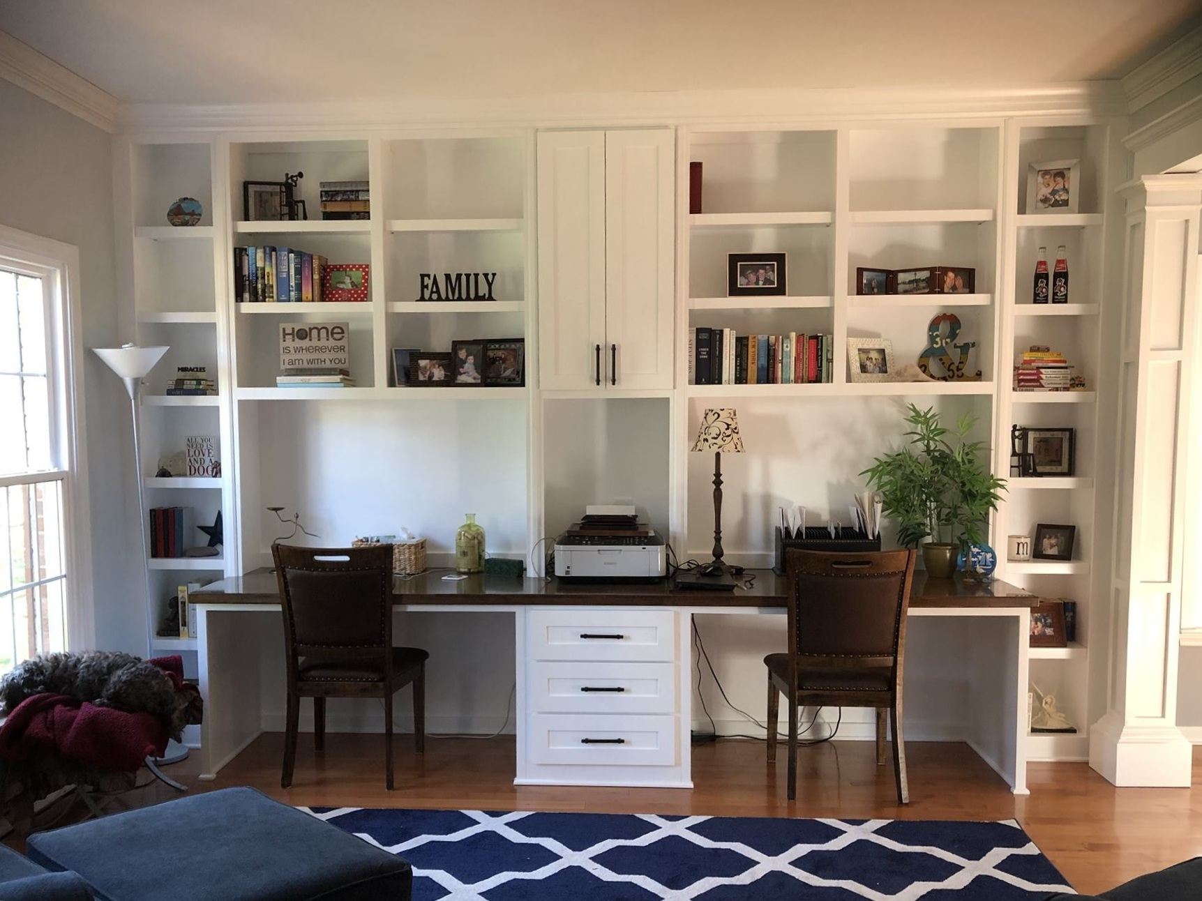 Custom Desk with Adjustable Shelves, Shaker Doors & Drawers, Bookcases, Printer Opening & Stain Countertop
